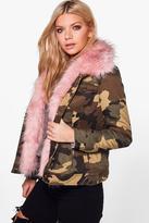 Boohoo Victoria Faux Fur Trim Camo Jacket