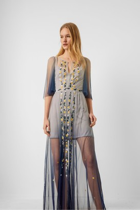French Connection Amana Embroidered Ombre Maxi Dress