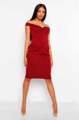 boohoo Maternity Twist Front Off The Shoulder Midi Dress