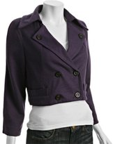 deep plum wool blend cropped jacket