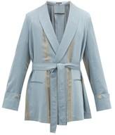 Ann Demeulemeester Belted Button-back Striped Crepe Jacket - Mens - Blue