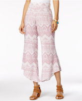 Rewash Juniors' Printed Asymmetrical-Hem Soft Pants