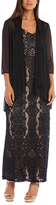 R & M Richards Black & Taupe Lace Gown & Drape Open Cardigan - Plus Too