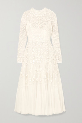 Needle & Thread Bella Embellished Tulle Midi Dress - Ivory