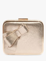 Phase Eight Allie Bow Front Box Clutch Bag, Gold