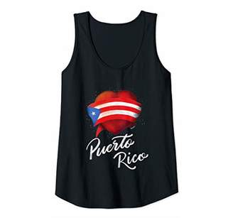 Womens I Love Bandera Puerto Rico Flag Tank Top