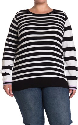 One A Mixed Stripe Crew Neck Long Sleeve Top