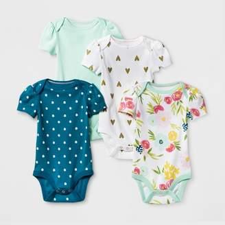 Cloud Island Baby Girls' 4pk Short Sleeve Bodysuit Mint/Blue - Cloud Island