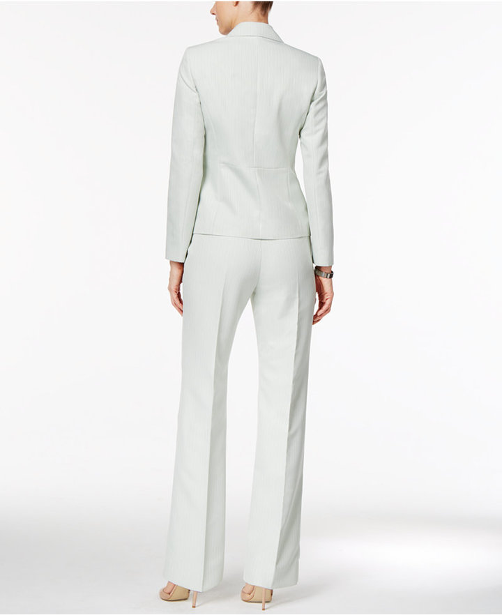 Le Suit Damask-Stripe Pantsuit