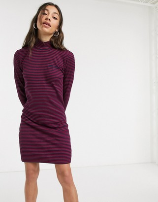 Tommy Jeans ribbed bodycon dress in purple