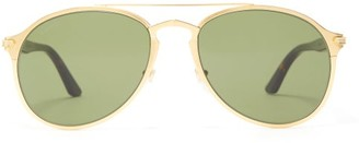 Cartier C De Metal & Acetate Sunglasses - Gold