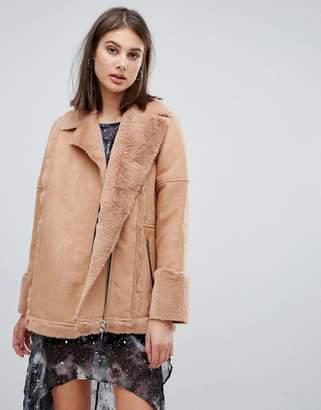 Religion spell faux fur aviator jacket-Pink