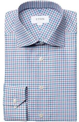 Eton Contemporary-Fit Linen-Blend Check Dress Shirt