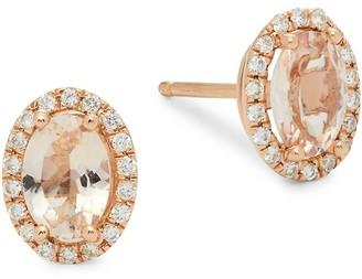 Saks Fifth Avenue 2-Piece 14K Rose Gold Diamond Morganite Stud Earrings