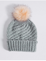 M&S Collection Fur Bobble Winter Hat