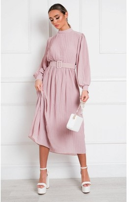 Little Mistress IKRUSH Ainslie Pleated Belted Maxi Dress in Blush