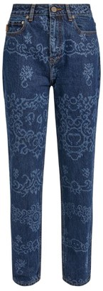 Ganni Laser-Embroidered Slim Jeans