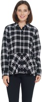 Joan Rivers Plaid Peplum Shirt with Fringe Hem