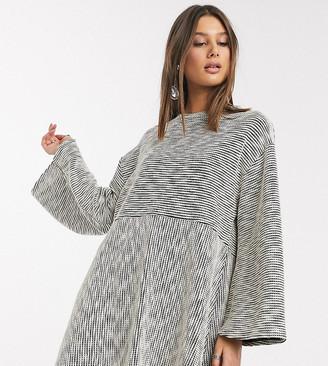 Asos Tall ASOS DESIGN Tall marl smock swing mini dress in grey marl
