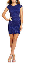 Jump Cap Sleeve Scalloped Lace Sheath Dress