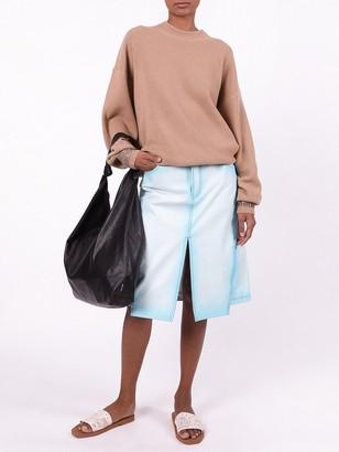 Alexander Wang Crewneck Sweater With Crystal Cuff Camel