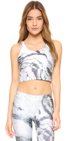 Terez Reversible Marble Crop Top with Shelf Bra