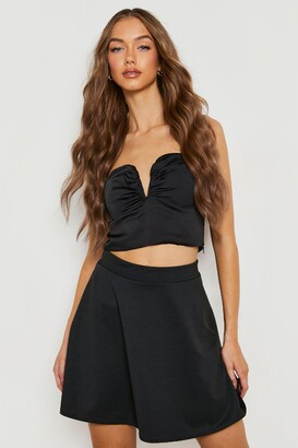 boohoo Basic Micro Fit And Flare Skater Skirt