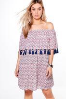 boohoo Plus Amy Bright Sequin Tassle Off The Shoulder Dress multi