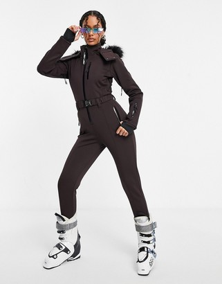ASOS 4505 ski fitted belted ski suit with fur faux hood