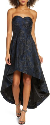 Chi Chi London Gracey Lee Metallic Filigree Strapless High/Low Gown