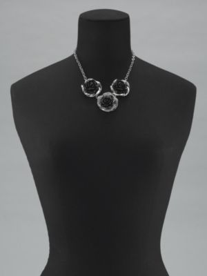 New York & Co. Triple Rose Bib Necklace