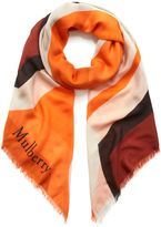 Mulberry M Print Square Bright Orange Silk Modal