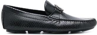Roberto Cavalli RC monogram snake loafers