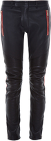 Balmain Biker contrasting-stripe stretch-leather trousers