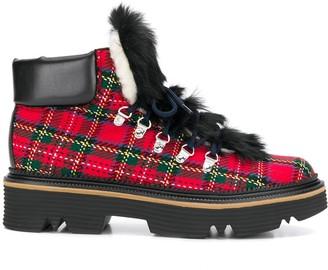 Pollini Plaid faux-fur detail boots