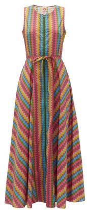 Le Sirenuse Le Sirenuse, Positano - Ornella Wave-print Cotton Dress - Womens - Pink Multi