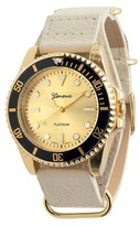 Geneva Platinum Women's Round Face Simulated Leather Strap Watch - Gold