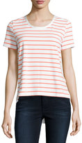 Neiman Marcus Short-Sleeve Striped Tee, Pink Peony