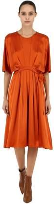L'Autre Chose Draped Silk Satin Midi Dress