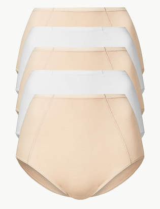 VPL M&S CollectionMarks and Spencer 5 Pack No Modal Blend Front Seam Full Briefs