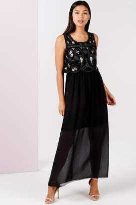 Girls On Film Black Embellished 2 In 1 Maxi Dress
