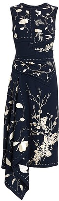 Oscar de la Renta Embroidered Asymmetric Floral Sheath Dress