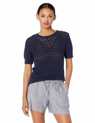 Lucky Brand Women's Short Sleeve Crochet Sweater