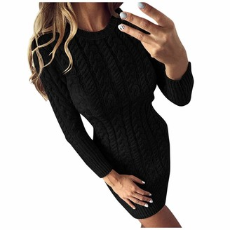 Your New Look Women's Solid Color Sweater Dress Casual Long Sleeve Round Neck Knit Dress for Spring Autumn Winter for Work School Daily Black