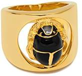 Maria Francesca Pepe Gold Plated Black Enamelled Scarab Charm Index Ring - Size P