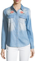 Brandon Thomas Distressed Embroidered Denim Blouse