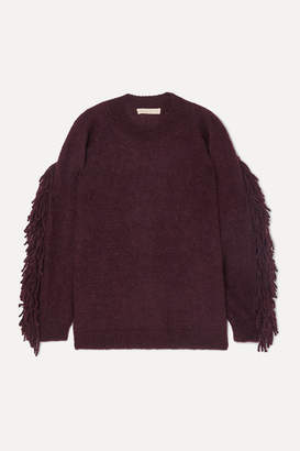 Vanessa Bruno Mina Fringed Mohair-blend Sweater - Grape