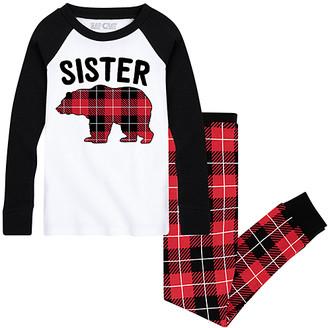 Nap Chat Family Girls' Sleep Bottoms WHITE/BLACK|BUFFALO - White & Black Buffalo Plaid 'Sister Bear' Jogger Pajama Set - Infant, Toddler & Girls