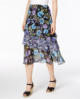 NY Collection Petite Printed Tiered Asymmetrical Skirt