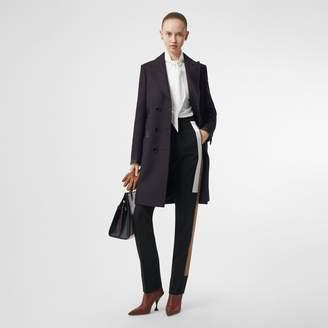 Burberry Lambskin Trim Wool Cashmere Blend Tailored Coat